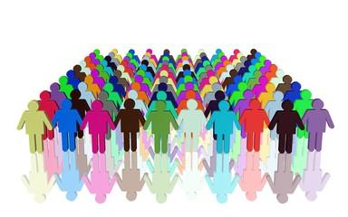 geordnete Menschenmenge, starke Gemeinschaft