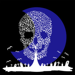 Vector  illustration of  Skull  tree moon graves
