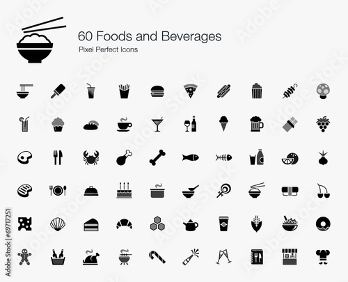 Fototapeta 60 Foods and Beverages Pixel Perfect Icons