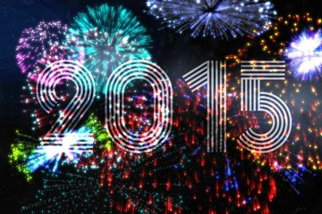 Colourful fireworks exploding on black background