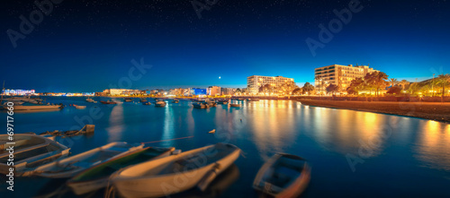 Foto op Canvas Zonsondergang Ibiza island night view