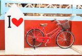 Red vintage bicycle with