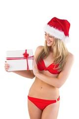 Festive fit blonde in red bikini showing gift