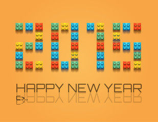 2015 Christmas Colorful Background with plastic blocks