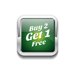 Buy 2 Get 1 Free Glossy Shiny Vector Button