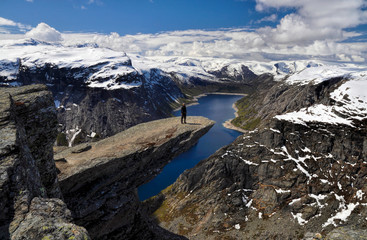 Hiker on Trolltunga, Norway