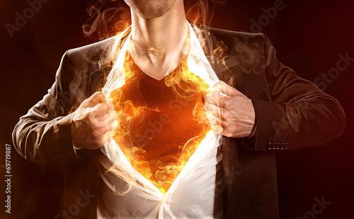 Leinwanddruck Bild Burning Hero