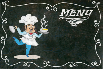 Chalk menu with cook