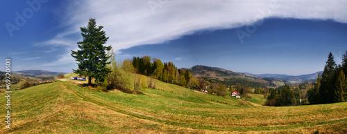 Panorama ze szlaku na Wielką Raczę, Beskid Żywiecki