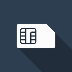 sim card icon with long shadow
