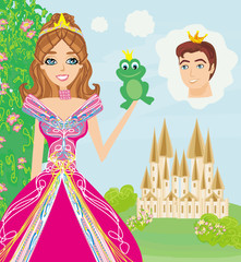 Beautiful young princess holding a big frog