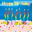 Birthday postcard.Birthday cake with candles