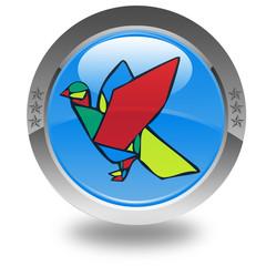 pigeon vitrail sur bouton