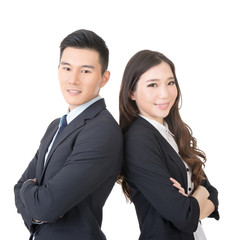 Confident young businessman and businesswoman