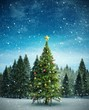 canvas print picture - Composite image of christmas tree