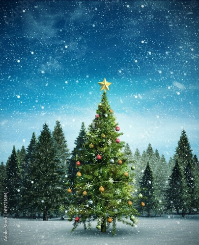 canvas print picture Composite image of christmas tree