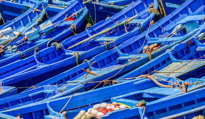 Many blue fishing boats tried next to one another