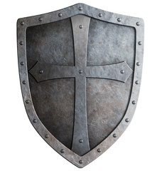 medieval crusader knight's shield isolated on white