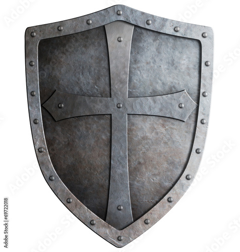 Leinwandbild Motiv medieval crusader knight's shield isolated on white