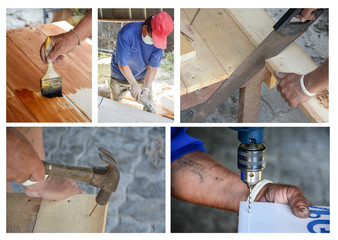 carpenter' s hands using tool