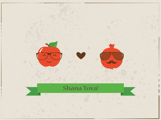 Hipster apple and pomegranate on a card for rosh hashana, jewish