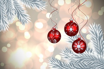 Composite image of digital hanging christmas bauble decoration
