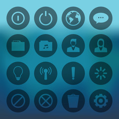 Circle mobile phone icons connectio set