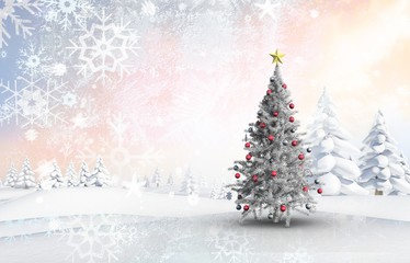 Composite image of christmas tree with baubles and star