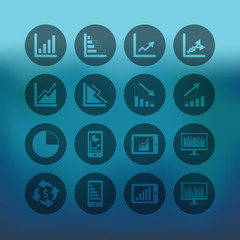 Blue background with circle Business Graph icon set