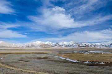 High altitude Tibetan plateau and cloudy sky at Qinghai province