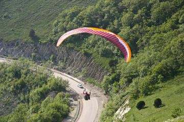 View from the hiest point of Nodorossijsk to paraplane flyer