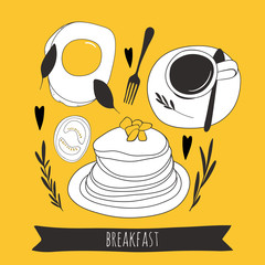 Cartoon fried egg with coffee and pancakes