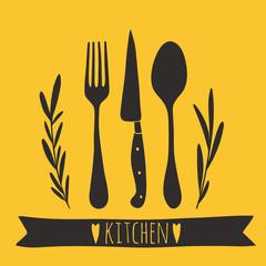 Cute cutlery. Hand drawn kitchen vector design