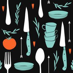 Cute cutlery. Hand drawn kitchen design