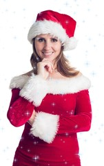 Portrait of pretty woman in santa costume smiling