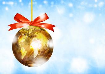 World map globe ornament ball. Christmas. Winter holiday