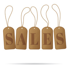 Recycled brown sales tags isolated on white background