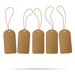 Recycled brown empty template tags isolated on white background