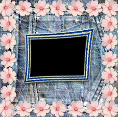 Old vintage postcard with beautiful pink flowers on blue jeans b