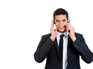 Male, handsome customer service representative with headset