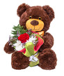 Bear with floral bouquet