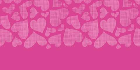 Pink lace hearts textile texture horizontal seamless pattern
