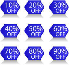 Blue Discount Stickers Vector