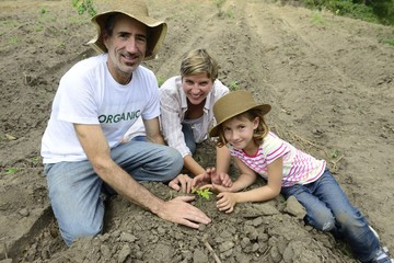 Family of organic farmers planting seedling