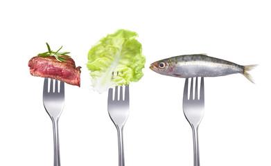 Fisch,Fleisch,Salat