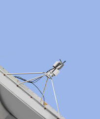 Satellite antenna dish for wireless broadcasting, sky background