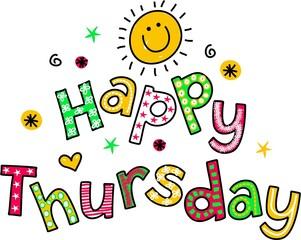 Happy Thursday Cartoon Text Clipart