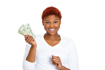 Successful young business woman holding money dollar bills
