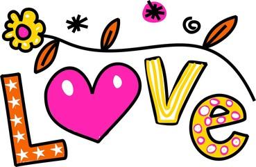 Love Cartoon Text Clipart