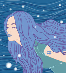Illustration of Aquarius zodiac sign as a beautiful girl